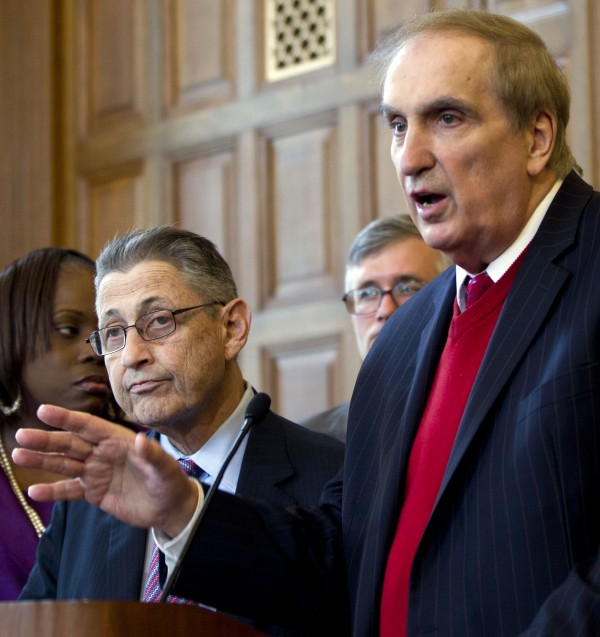 Assemblyman Vito Lopez, D-Brooklyn, speaks last April during an affordable housing news conference as Assembly Speaker Sheldon Silver, D-Manhattan, left, listens, at the Capitol in Albany, N.Y.