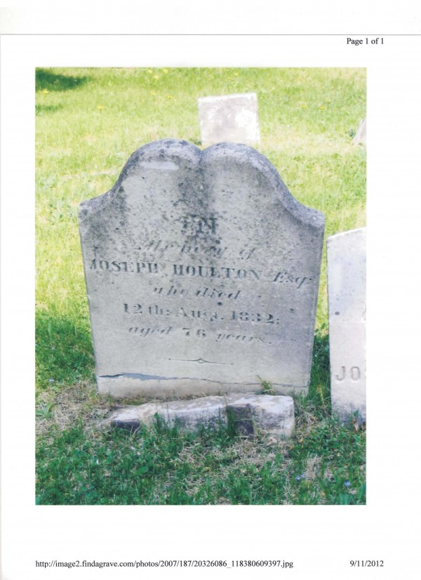This is the gravestone of Joseph Houlton, who founded the town bearing his name in 1807. The marker was stolen between Sept. 4 and Sept. 7. The marker weighs 70 pounds.
