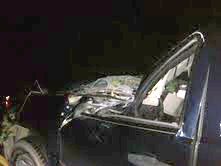 49-year-old Roy Jordan of Stetson suffered only a cut on his right hand after a large tree limb fell across across Union Street in Hermon and landed on his 2008 GMC extended cab pickup truck shortly after 9 p.m. on Monday, Sept. 10, 2012. The downed tree limb knocked down power and cable lines and closed a section of Union Street near Butler's Garage for nearly an hour as crews from Central Maine Power and the town of Hermon's Public Works Department cleared the scene.