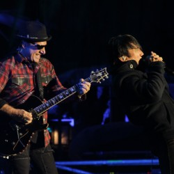 Guitarist Neal Schon and singer Arnel Pineda of Journey rock the crowd of more than 10,000 at the Bangor Waterfront on Friday, Sept. 28, 2012.