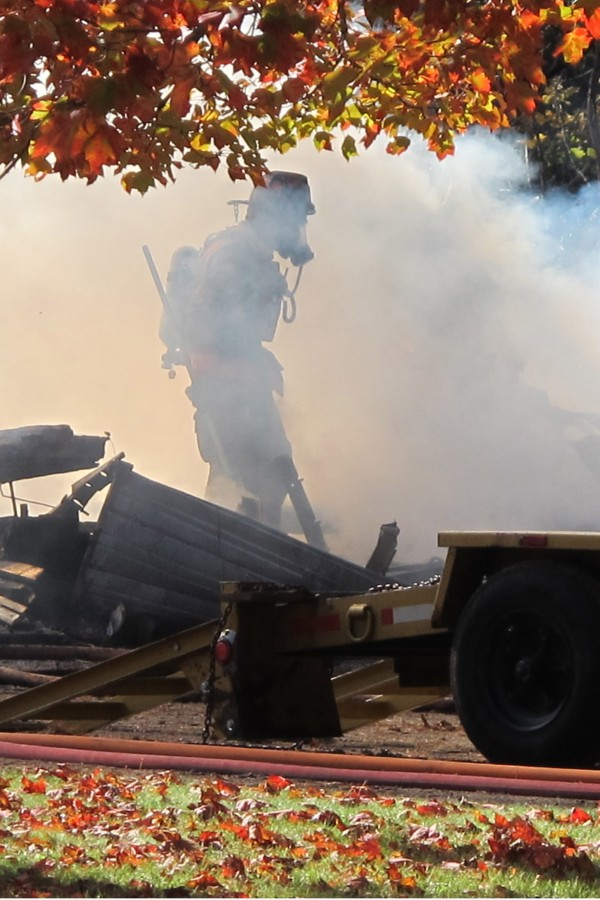 A rogue welding spark ignited a vehicle fire inside a home garage on Main Street in Franklin on Wednesday, Oct. 17, 2012.