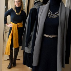 Susan Stephenson models a dress that she will wear for 30 days, 30 ways to benefit Dress for Success.