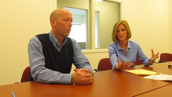Dean Jacobs and Courtney Oland, co-owners of Waltz Long Term Care Pharmacy in Brunswick, talk to the Bangor Daily News in October 2012.