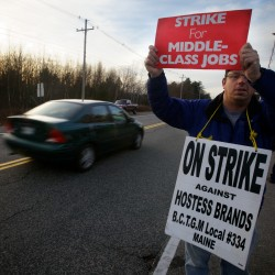 Hostess Bakeries workers on strike in Biddeford