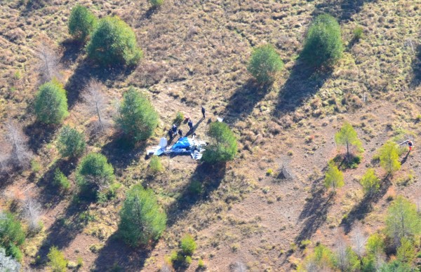 An aerial view of the plane crash that occurred Friday, Nov. 17, 2012 in Owls Head, taken Saturday, Nov. 18, 2012.