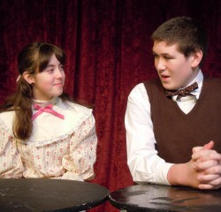 Jessie Walker as Emily Webb and Will Martin as George Gibbs in the Orono Community Theatre production of Thornton Wilder's OUR TOWN.