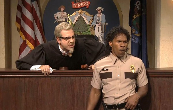 Jason Sudeikis (left) and Jamie Foxx perform Saturday, Dec. 9, 2012, during the sketch &quotMaine Justice&quot on Saturday Night Live.