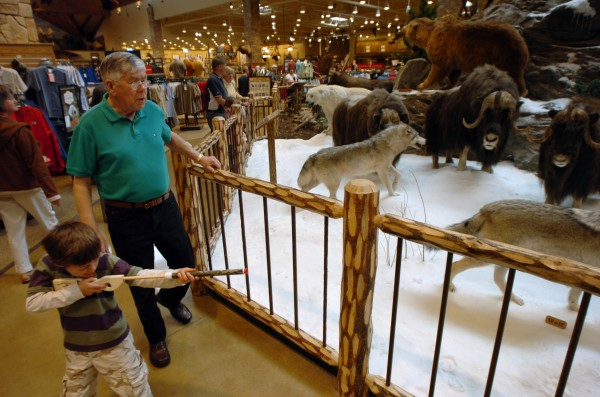 Former Caribou resident Bill McGary views the taxidermy as his grandson Zander Lizzotte of Scarborough, takes shots with a popgun at the stuffed beasts on Conservation Mountain in the center of the new Cabela's store in Scarborough in 2008.
