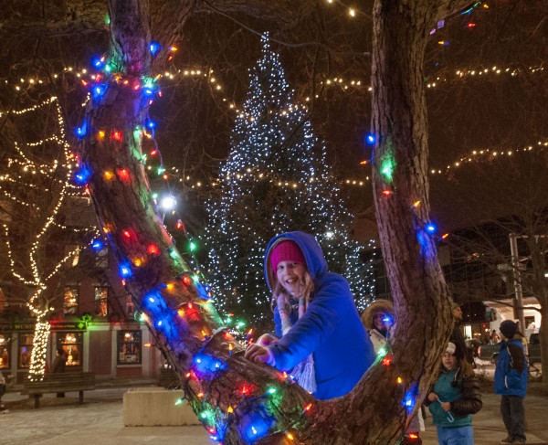 Makayla and her family stop to see the now-lit tree at the end of the Festival of Lights parade in downtown Bangor on Saturday.