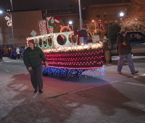 Lewis Eaton and Son, from Little Deer Isle,  brought the boat to town for the Festival of Lights parade in downtown Bangor on Saturday.
