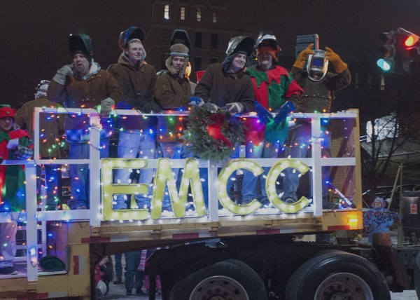 Eastern Maine Community College had its programs represented in the Festival of Lights parade in downtown on Saturday.