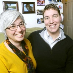 Lisa Ward (left), 48, and Mel Cloutier, 41, of Lisbon Falls, plan to get their marriage license Monday.