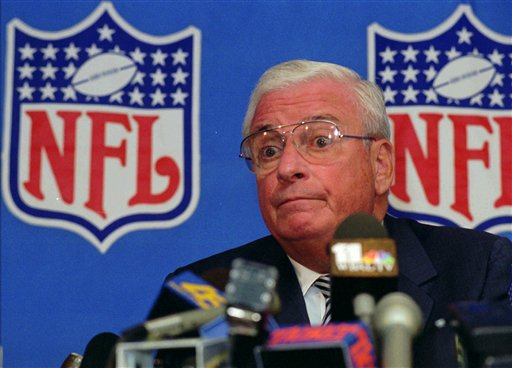 Cleveland Browns owner Art Modell fields questions about the team's move from the Cleveland area to Baltimore, during a news conference at the NFL meeting in Grapevine, Texas, in this Nov. 7, 1995 file photo. Modell died Sept. 6, 2012.