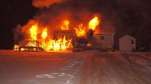 A single-wide trailer at 87 Durgin Road in Paris occupied by a family of four was destroyed by fire early Thursday morning.