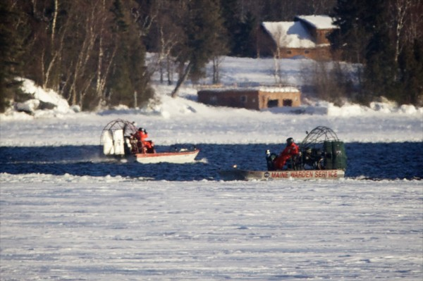 Air boats with the Maine Warden Service search Rangeley Lake on Jan. 3, 2013, for three missing snowmobilers.