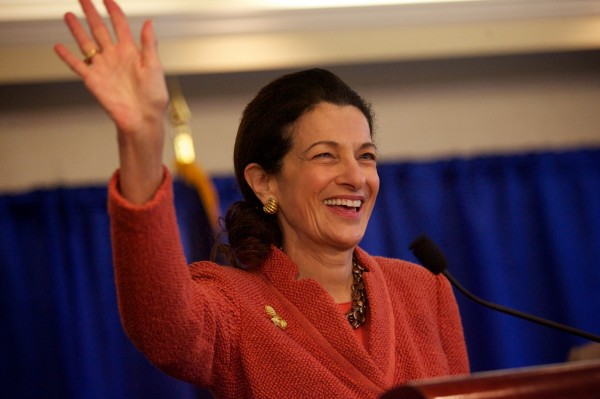 Sen. Olympia Snowe waves goodbye at the end of a press conference in Portland in March 2012.