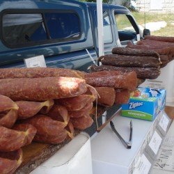 Some of the sausages and salamis made by Smith's Smokehouse were on sale last summers at the Stonington Farmers Market.