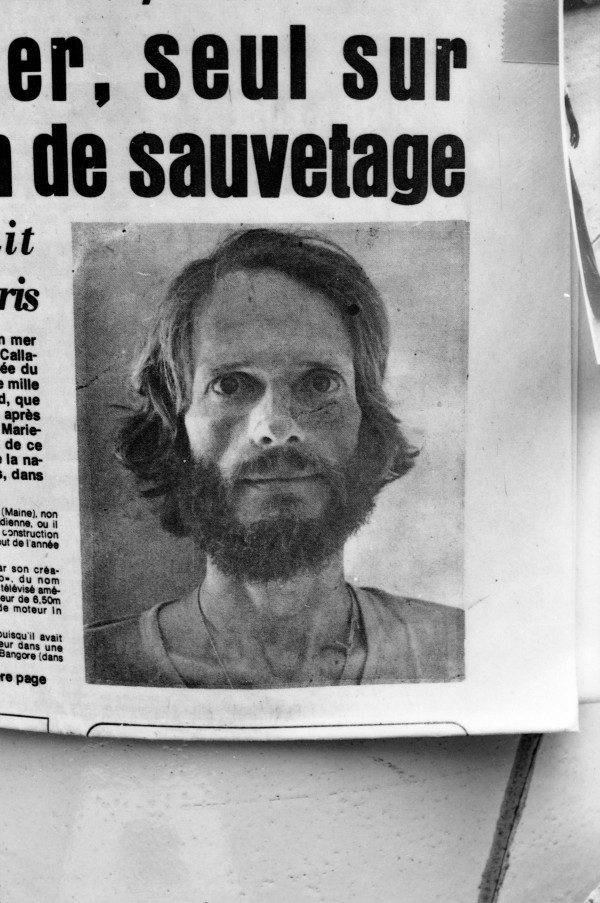 Steve Callahan as pictured in a Guadeloupe newspaper in 1982 following his rescue after having spent 76 days adrift in the Atlantic Ocean in a life raft.
