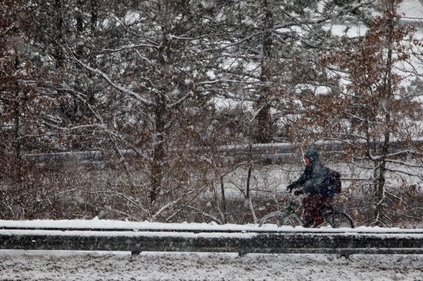 A hearty soul braves the weather on a bicycle in Portland Wednesday, Jan. 16, 2013.