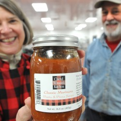 Cheryl Wixson (left) and and her husband Phillip McFarland produce marinara sauce under the name of Cheryl Wixson Kitchen at the Coastal Farms and Foods facility in Belfast. The facility provides infrastructure to small produce-processing businesses like the Cheryl Wixson Kitchen.