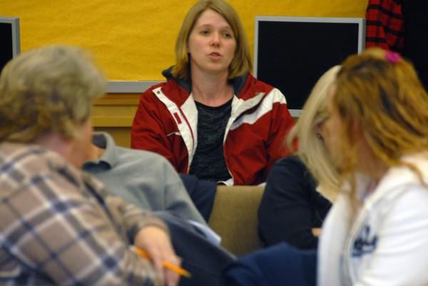 Linda Osborne of East Millinocket speaks to the combined East Millinocket school committee and Board of Selectmen at Schenck High School of East Millinocket on Monday, Jan. 7, 2013.
