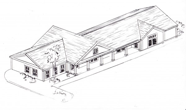 This rough sketch shows the proposed design for a new Dunkin' Donuts franchise on South Street in Blue Hill. The building will also house two yet-unnamed business tenants, according to owner Chuck Lawrence, who also owns the Tradewinds Market across the street.