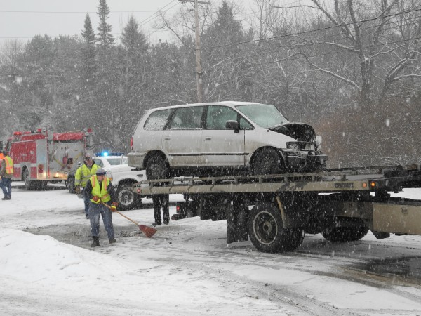 Rescue crews clean up Wednesday afternoon after a two-car accident on Route 1 near the Searsport town line. Police said at the scene that no serious injuries were incurred in the accident, which involved a pickup truck and a minivan.