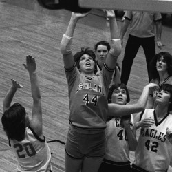 Ashland's Liz Coffin puts up a shot during a tourney game in February 1983 at the Bangor Auditorium. Coffin scored 53 points in game against Southern Aroostook on Dec. 22, 1982.