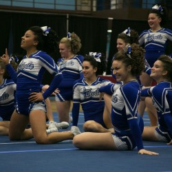 The Class A champion Lewiston High School cheerleading team strikes a pose at the end of their routine at the Kennebec Valley Athletic Conference cheerleading championships on Monday, Jan. 21, 2013.
