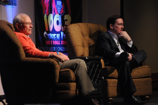 Boston Red Sox announcers Joe Castiglione, left, and Dave O'Brien take part in WZON's hot stove session at the Bangor Civic Center on Monday.