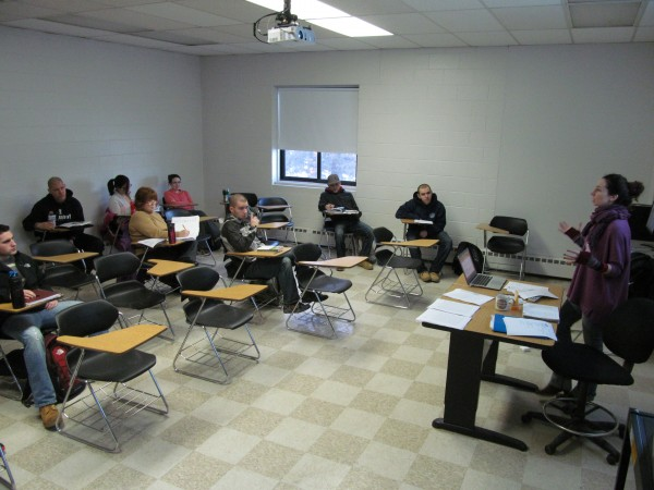 Southern Maine Community College instructor and freelance journalist Sara Anne Donnelly conducts a 7 a.m. class at the school.