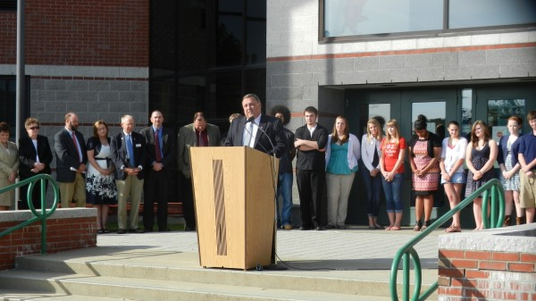 As participating students and education officials look on, Gov. Paul LePage touts the benefits of the Bridge Year Program during a gathering at Hermon High School on Monday, June 11, 2012.