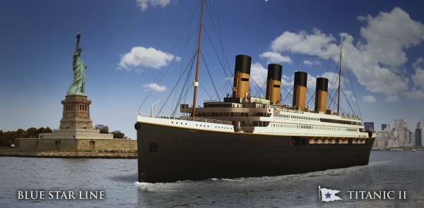 An undated artist's rendering of the proposed cruise ship Titanic II, provided by the Blue Star Line as Australian billionaire Clive Palmer unveiled plans for his dream ship during a news conference in New York February 26, 2013. The cruise ship will be built by the CSC Jingling Shipyard in China, and will sail from Southhampton, England to New York on her maiden voyage in late 2016, according to Palmer.
