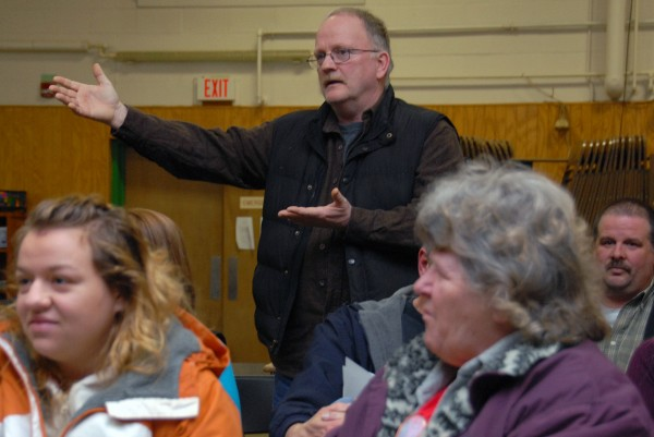 Former East Millinocket School Committee member Don Hendsbee urges the committee to consider alternative solutions to repairing Schenck High School as he speaks during a meeting on Tuesday, Feb. 19, 2013.
