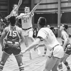 Brewer High School's Danny Coombs wheels toward the basket against Cony in an Eastern Maine Class L quarterfinal against Cony on Feb. 23, 1960 at the Bangor Auditorium. Coombs led Brewer to an 82-56 victory and on to the EM title.