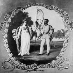 The flag presented to the 3rd United States Colored Troops depicts the goddess Liberty presenting an American flag to a black sergeant.