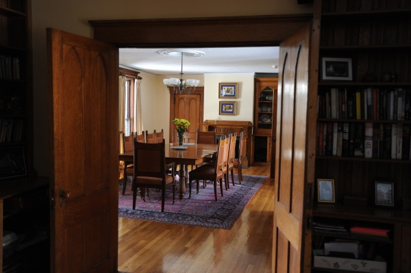 The dining room that was added to the Cliff Cottage in the late 1800s is still home to the original oak table.