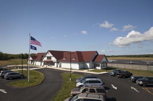 The Knox County Regional Airport terminal in Owls Head.