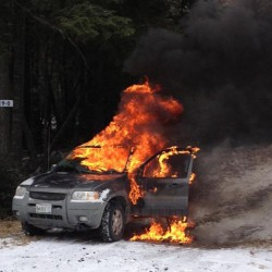 Someone driving on Route 9 in Osborn sent this photo of a car that caught fire just before nooon on Friday, Feb. 8, 2013.