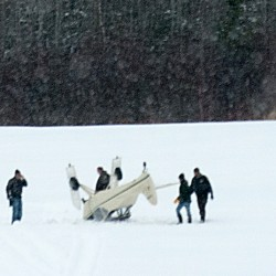 An overturned plane rests in the middle of Miller's air field in Newburgh on Wednesday, March 20, 2013.