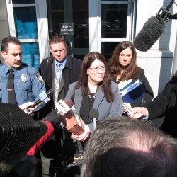 York County Deputy District Attorney Justina McGettigan, joined by Kennebunk Police Chief Robert MacKenzie, Assistant District Attorney Patrick Gordon, and Kennebunk Patrol Officer Audra Presby, fields questions from reporters late Thursday morning after Mark Strong Sr. was sentenced for his role in an alleged prostitution operation in Kennebunk.