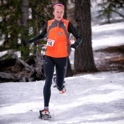 Carolyn Stocker, 20, a sophomore at the University of Maine in Orono, races along a challenging course at the 2013 National Snowshoe Championships, March 15-17, in Bend, Ore. Stocker won bronze, earning her a slot on the U.S. National Snowshoe Team.