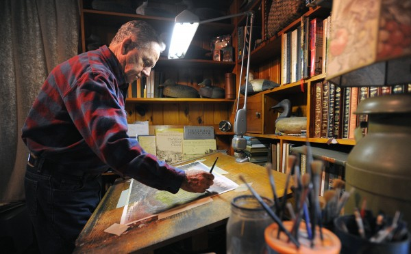 Tom Hennessey at work in his Hampden studio recently.
