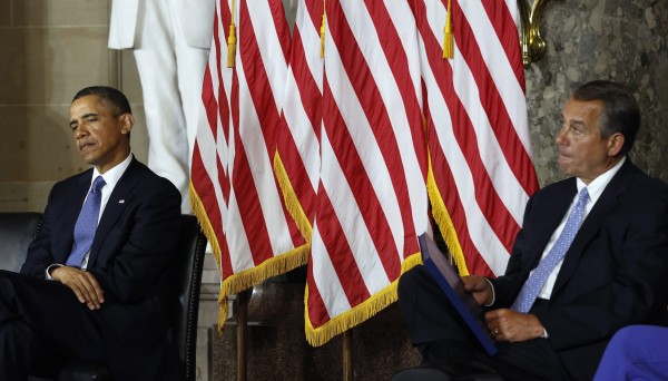 U.S. President Barack Obama and House Speaker John Boehner attend a ceremony at the U.S. Capitol in February 2012.