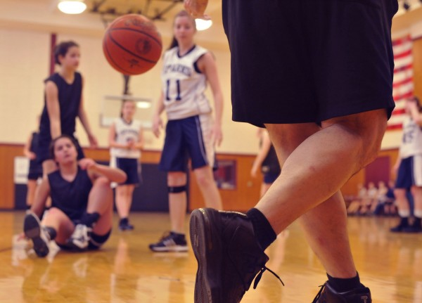 One of the first things that you notice about 'second season' basketball is that the officials wear shorts as here during a girls' game at the former Pemetic High School in Southwest Harbor on Saturday, March 28, 2010.