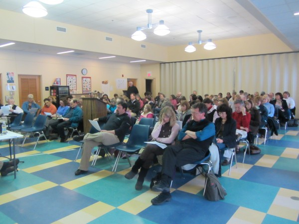 More than 100 people turned out Thursday evening to comment and ask questions about a proposed merger of Rockland District Middle School and Thomaston Grammar School.