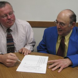 SAD 4 Superintendent Paul Stearns, left, and Charles E. Foss of Dover-Foxcroft  in 2008
