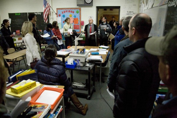 Lyndon Keck of PDT Architects led School Board members, school administrators and parents through Coffin Elementary School and Brunswick Junior High School Wednesday night to demonstrate why he's recommending a $38 million upgrade.