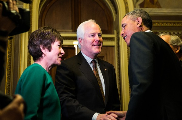 Maine Sen. Susan Collins, left, and Texas Sen. John Cornyn meet with President Barack Obama at the U.S. Capitol on March 14, 2013.