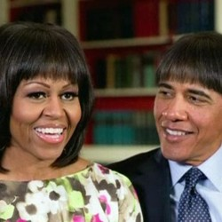 President Barack Obama makes light of his wife Michelle Obama's new bangs with a mock pictures of himself with the same hairdo in this photo created by the White House shown at the annual White House Correspondents' Association dinner in Washington on Saturday.